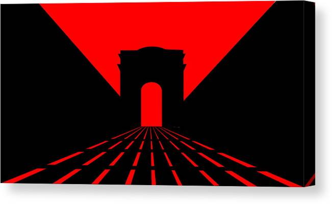 Champs Elys�es Canvas Print featuring the digital art Inspired by Champs Elysees and Parisian Dusk by Asbjorn Lonvig