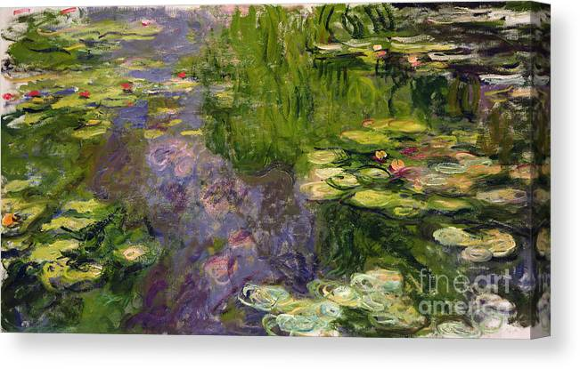 Nympheas; Water; Lily; Waterlily; Impressionist; Green; Purple Canvas Print featuring the painting Waterlilies by Claude Monet