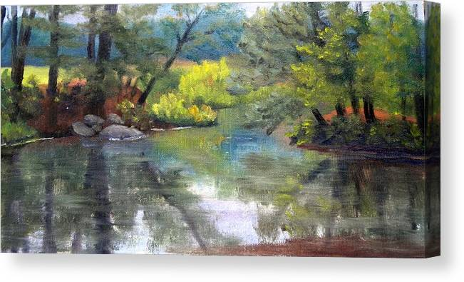 Reflections Canvas Print featuring the painting Along The Exeter River by Sharon E Allen