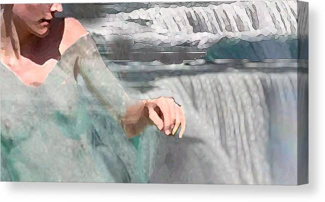Waterscape Canvas Print featuring the digital art Cascade by Steve Karol