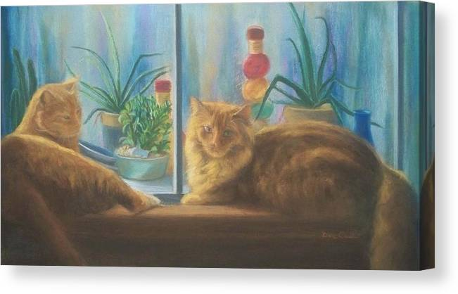 Cats Canvas Print featuring the painting Cats in the Window by Diane Caudle