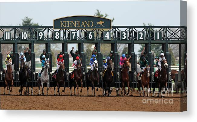 Keeneland Canvas Print featuring the photograph Keeneland Race Day by Angela G