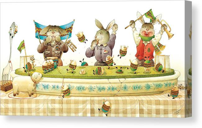 Eggs Easter Soccer Rabbit Canvas Print featuring the painting Eggs Soccer by Kestutis Kasparavicius