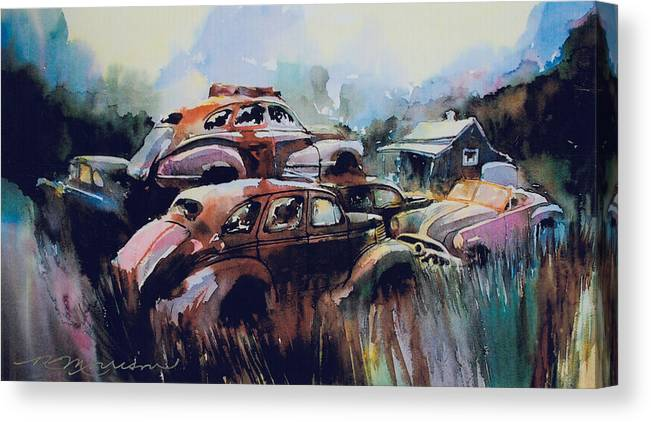 Rusted Chevs Canvas Print featuring the painting Growing Older by The Year by Ron Morrison