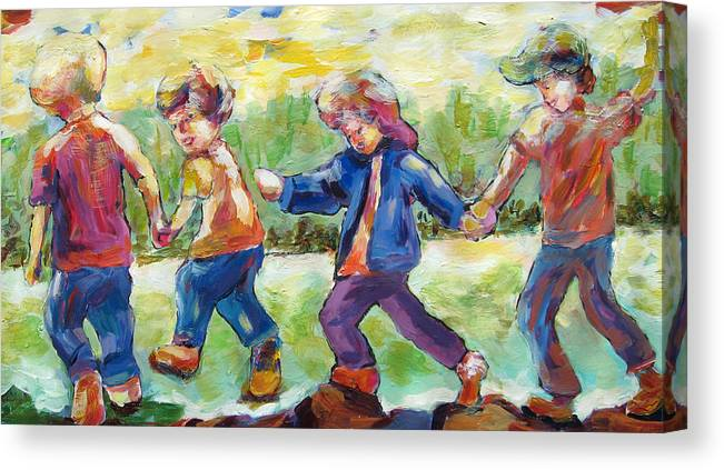 Children Just Having Fun Canvas Print featuring the painting Just Having Fun by Naomi Gerrard