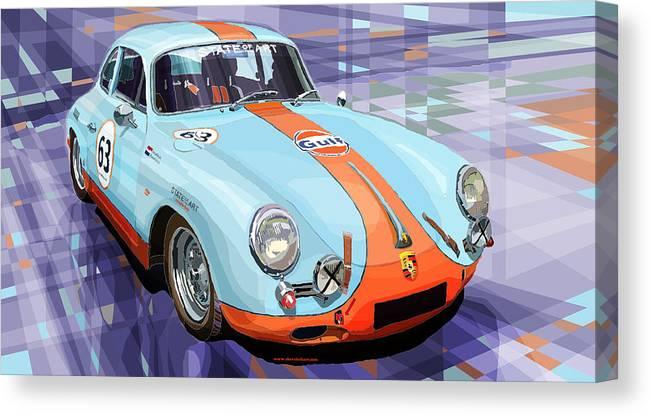 Automotive Canvas Print featuring the digital art Porsche 356 Gulf by Yuriy Shevchuk