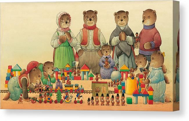 Christmas Greeting Cards Teddybear Canvas Print featuring the painting Teddybears and Bears Christmas by Kestutis Kasparavicius