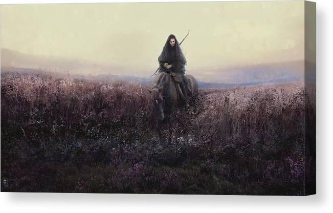 Warrioress Canvas Print featuring the painting The Long Ride by Eve Ventrue