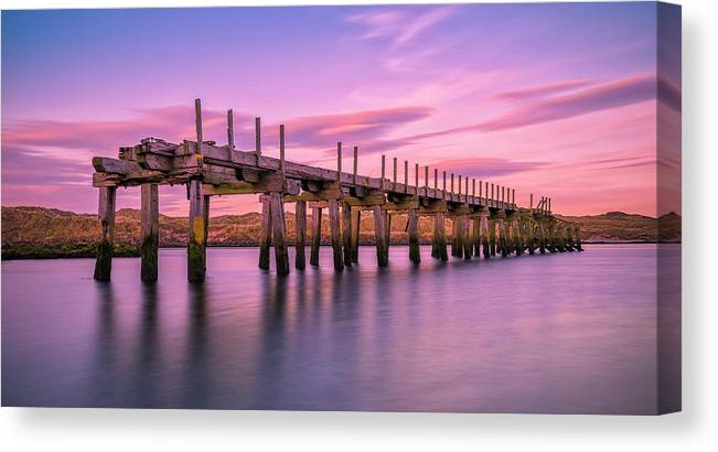 Old Bridge Canvas Print featuring the photograph The Old Bridge at Sunset by Roy McPeak