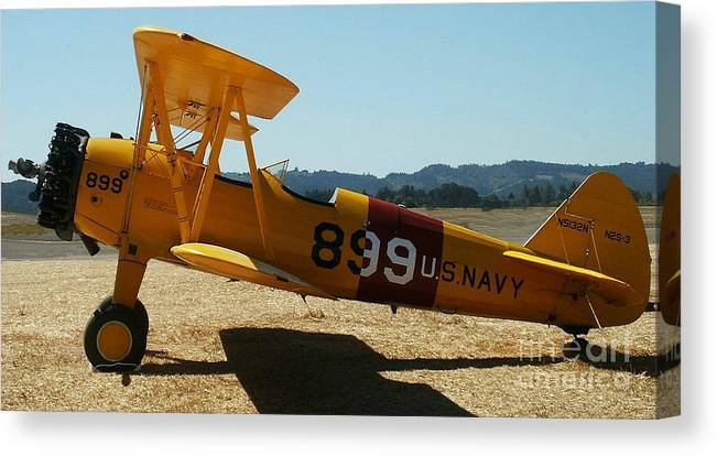 Diane Berry Canvas Print featuring the painting US Navy biplane by Diane E Berry