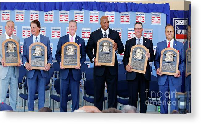 American League Baseball Canvas Print featuring the photograph 2014 Baseball Hall Of Fame Induction by Jim Mcisaac
