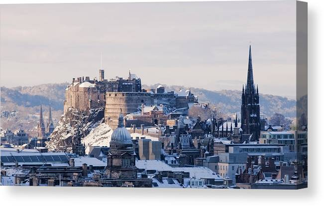 Snow Canvas Print featuring the photograph Edinburgh Castle by Davidhills