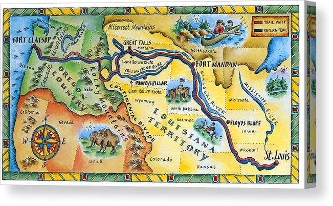 Watercolor Painting Canvas Print featuring the digital art Lewis & Clark Expedition Map by Jennifer Thermes