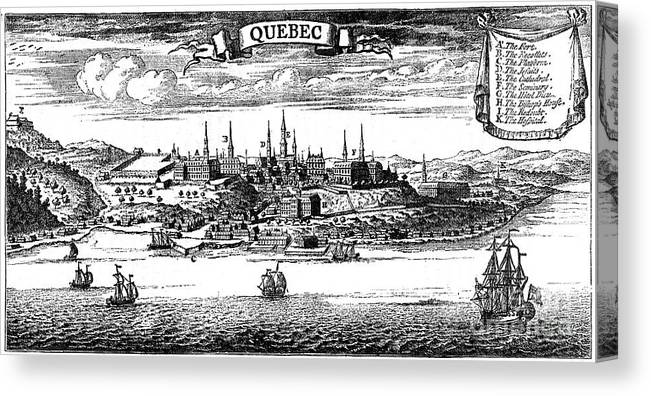 Engraving Canvas Print featuring the drawing Old View Of Quebec, 1730 C1880 by Print Collector