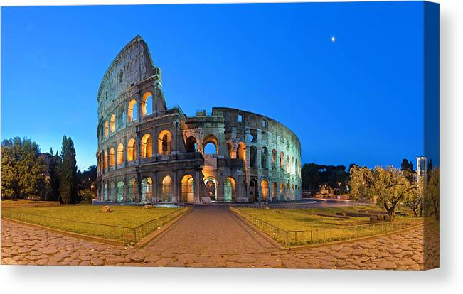 Arch Canvas Print featuring the photograph Rome Coliseum Ancient Roman by Fotovoyager
