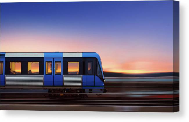 Train Canvas Print featuring the photograph Subway Train In Profile Crossing Bridge by Olaser