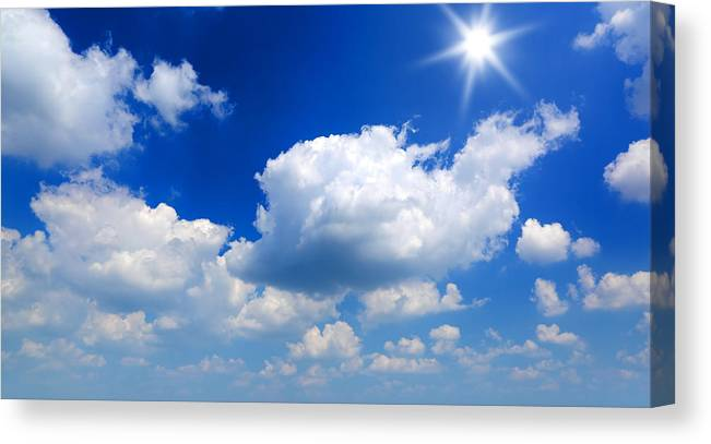 Scenics Canvas Print featuring the photograph Sun And Clouds by Macroworld