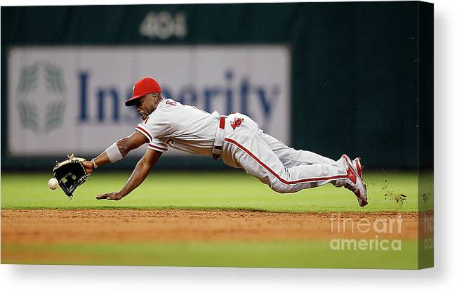 Sports Ball Canvas Print featuring the photograph Brett Myers and Jimmy Rollins by Bob Levey