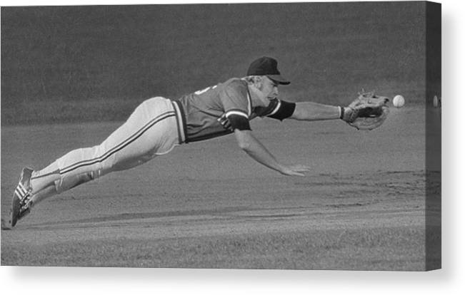 American League Baseball Canvas Print featuring the photograph Buddy Bell by Ronald C. Modra/sports Imagery