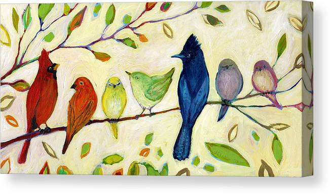 Bird Canvas Print featuring the painting A Flock of Many Colors by Jennifer Lommers