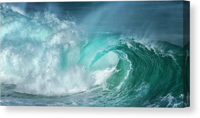 Panoramic Canvas Print featuring the photograph Barrel In The Surf by Simon Phelps Photography