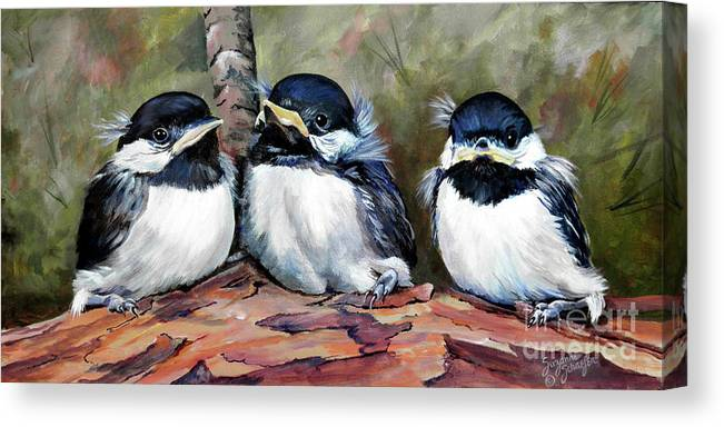Chickadees Canvas Print featuring the painting Blackcapped Chickadee Babies by Suzanne Schaefer