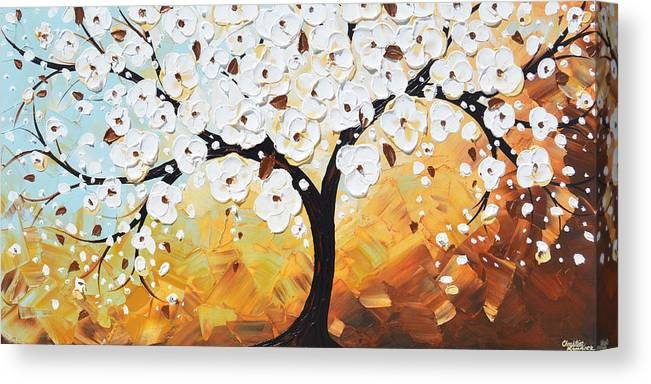 White Canvas Print featuring the painting Endless Twilight - Tree of Life by Christine Bell