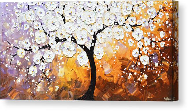 White Canvas Print featuring the painting Full Bloom - White Blossoming Cherry Tree by Christine Bell