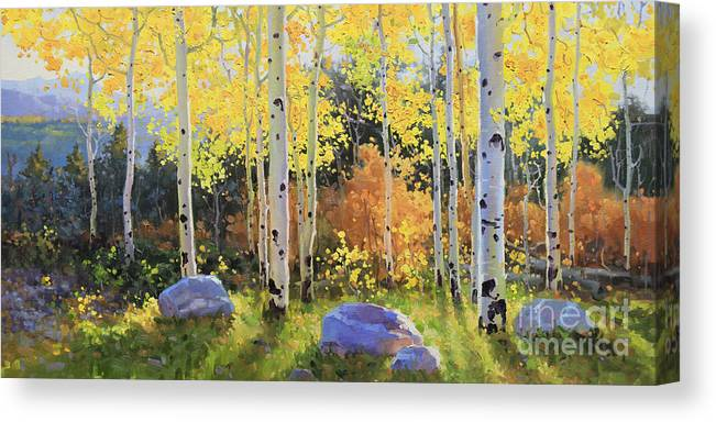 Oil Canvas Prints Contemporary Original Canvas Print featuring the painting Glowing Aspen by Gary Kim