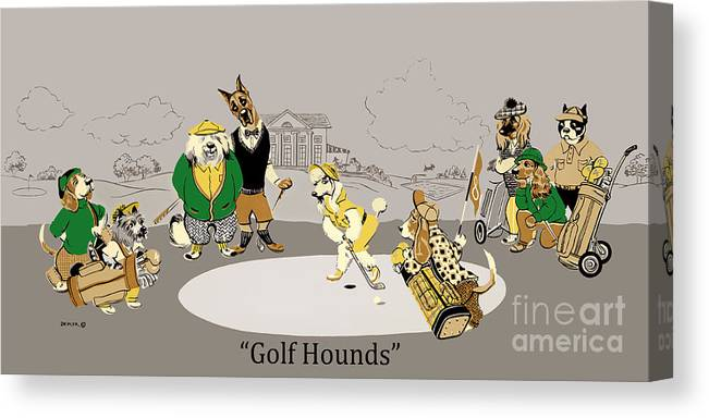 golf Hounds Canvas Print featuring the mixed media Golf Hounds by Constance Depler