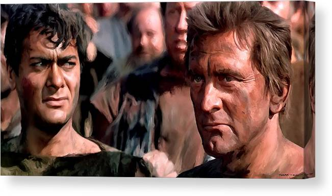 Spartacus Canvas Print featuring the digital art Kirk Douglas and Tony Curtis in the film Spartacus by Gabriel T Toro