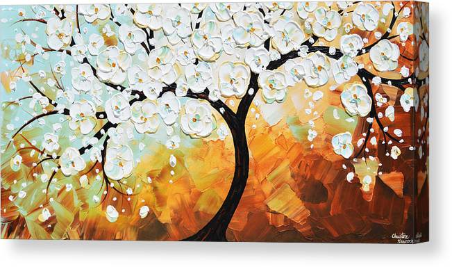 White Canvas Print featuring the painting Life's Innocence - White Cherry Tree by Christine Bell