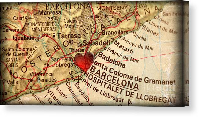 Map Of Barcelona Spain Espana Europe In A Antique Distressed Vin Canvas Print Canvas Art By Elite Image Photography By Chad Mcdermott