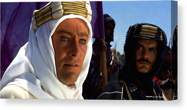 Alec Guinness Canvas Print featuring the digital art Peter OToole and Omar Sharif in Lawrence of Arabia by Gabriel T Toro