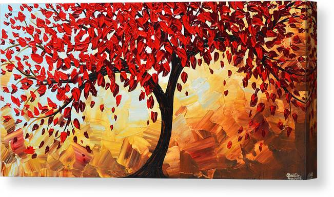 Red Canvas Print featuring the painting Red Tree of Life by Christine Bell