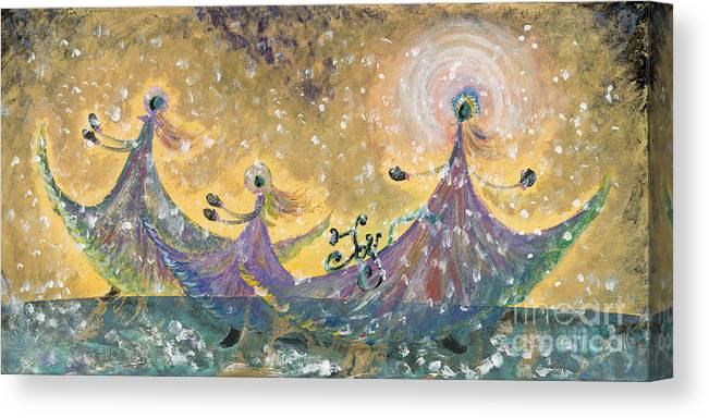 Joy Canvas Print featuring the painting Snow Joy by Nadine Rippelmeyer