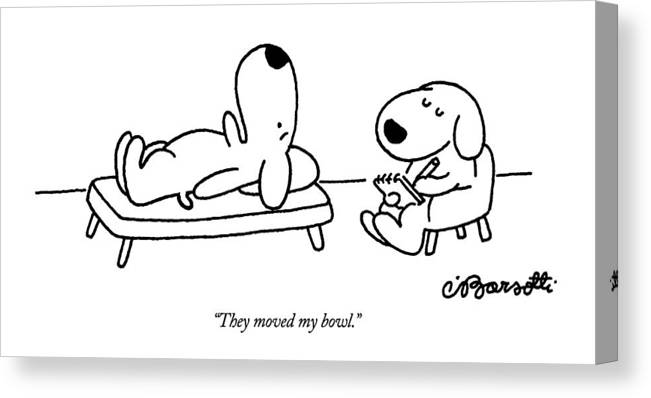 Animals Canvas Print featuring the drawing They Moved My Bowl by Charles Barsotti