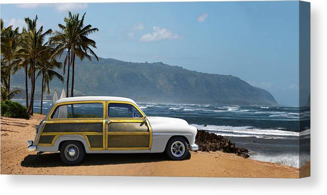 Haleiwa Canvas Print featuring the photograph Vintage Woody On Hawaiian Beach by Ed Freeman