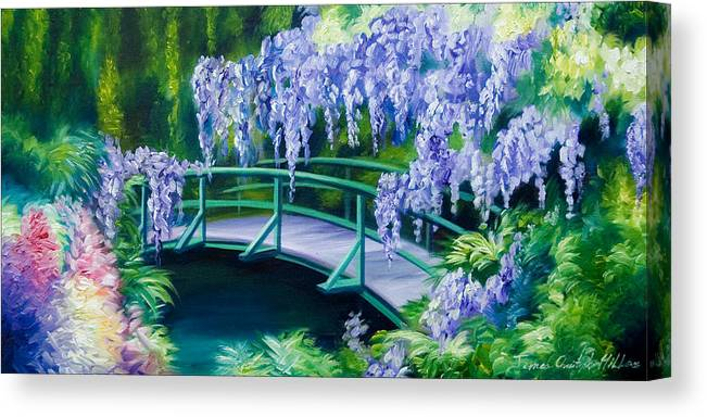 Bright Clouds Canvas Print featuring the painting Gardens of Givernia II by James Christopher Hill