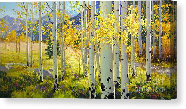 Aspen Oil Painting Birch Trees Gary Kim Oil Print Art Woods Fall Autumn Tree Panorama Sunset Beautiful Beauty Yellow Red Orange Fall Leaves Foliage Autumn Leaf Color Mountain Oil Painting Original Art Horizontal Landscape National Park America Morning Nature Wallpaper Outdoor Panoramic Peaceful Scenic Sky Sun Time Travel Vacation View Season Bright Autumn National Park Southwest Mountain Clouds Cloudy Landscape Afternoon Aspen Grove Natural Peak Painting Oil Original Vibrant Texture Reflections Canvas Print featuring the painting Afternoon Aspen Grove by Gary Kim
