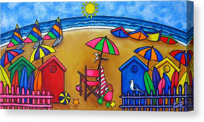 Beach Canvas Print featuring the painting Beach Colours by Lisa Lorenz
