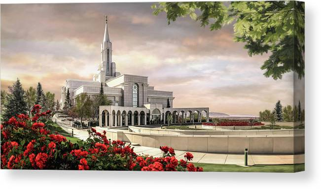 Bountiful Canvas Print featuring the painting Bountiful Temple by Brent Borup