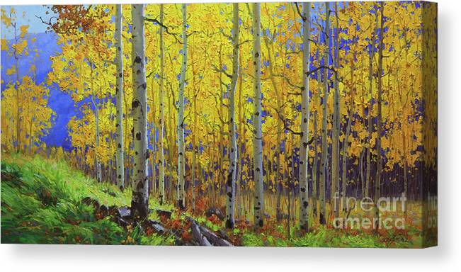 Aspen Canvas Print featuring the painting Fall Aspen Hill by Gary Kim