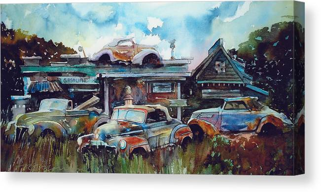 Fords Canvas Print featuring the painting Lytton Station by Ron Morrison