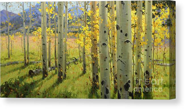 Aspen Trees Birch Trees Gary Kim Oil Print Art Print Woods Fall Trees Autumn Season Panorama Sunset Beautiful Beauty Yellow Red Orange Fall Leaves Foliage Autumn Leaf Color Mountain Oil Painting Original Art Horizontal Landscape National Park America Morning Nature Wallpaper Outdoor Panoramic Peaceful Scenic Sky Sun Time Travel Vacation View Season Bright Autumn National Park South America Clouds Cloudy Landscape Mist Misty Natural Peak Peaks New Painting Oil Original Vibrant Texture Reflections Canvas Print featuring the painting Maroon Creek by Gary Kim