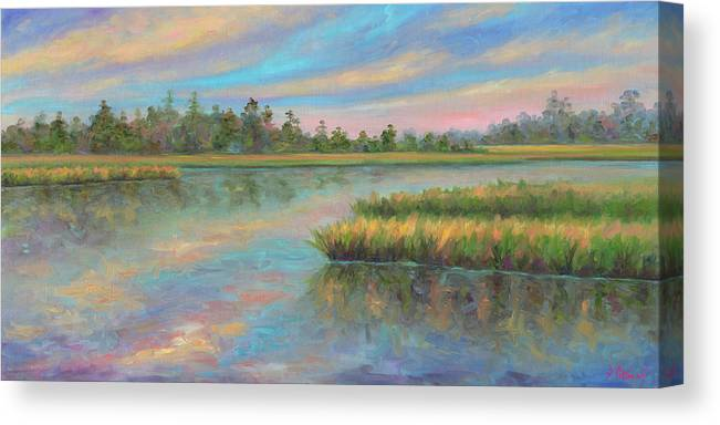 Marsh Canvas Print featuring the painting Marsh Glow in the Low Country by Jeff Pittman