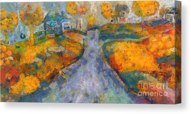 Home Canvas Print featuring the painting Memories Of Home In Autumn by Claire Bull