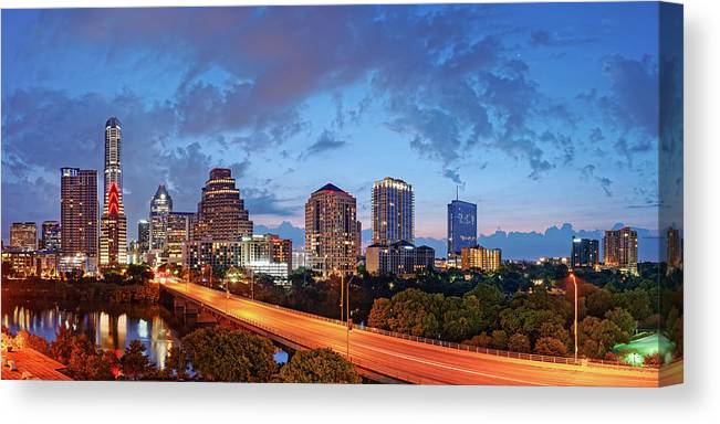 Panoramic Twilight View Of Downtown Austin Skyline And Congress Avenue Bridge Travis County Texas Canvas Print Canvas Art By Silvio Ligutti