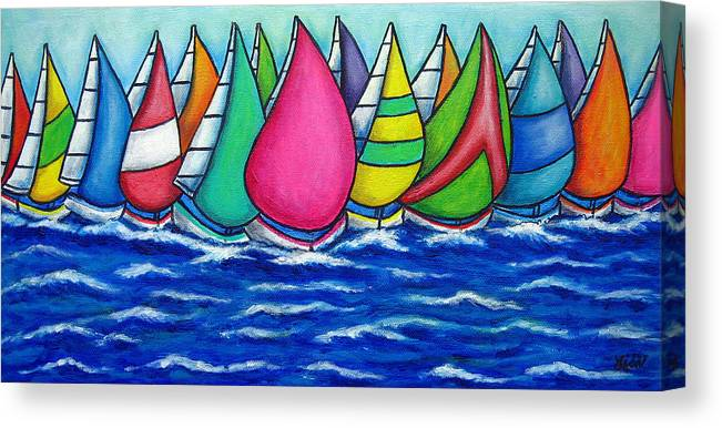 Boats Canvas Print featuring the painting Rainbow Regatta by Lisa Lorenz