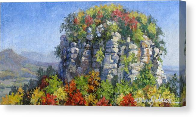 Mountains Canvas Print featuring the painting The Pilot - Pilot Mountain by L Diane Johnson